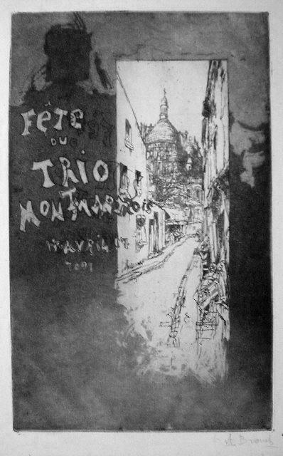 une eau-forte représentant une rue de Montmartre