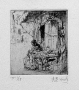 a small etching showing a young needlewomen sitting in a street, at work in front of a little shop.