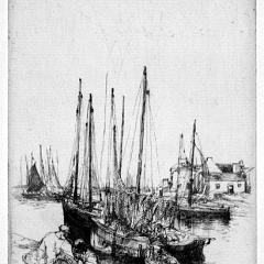 Auguste Brouet - Eau-forte - Fishing Boats in Port Haliguen