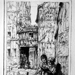 Auguste Brouet - Eau-forte - Children reading in a Street in Rouen