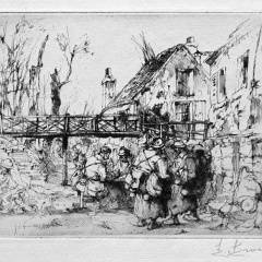 Auguste Brouet - Eau-forte - A halt in the Village