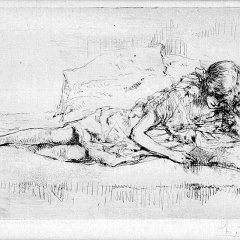 Auguste Brouet - Eau-forte - The Reader (1st plate)