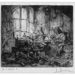 Auguste Brouet - Eau-forte - The Lute Maker (2nd plate)