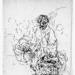Auguste Brouet - Eau-forte - Hawker (2nd plate)