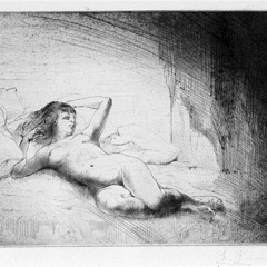 Auguste Brouet - Eau-forte - Foreshortened Nude
