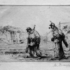 Auguste Brouet - Eau-forte - The Patrol (2nd plate)