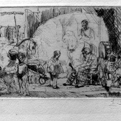 Auguste Brouet - Eau-forte - The Pinder Circus (Small Plate)