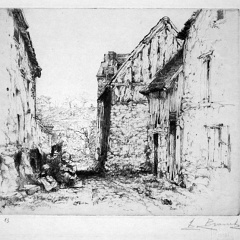 Auguste Brouet - Eau-forte - Old Street in the Damps