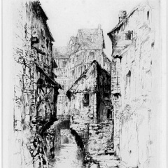 Auguste Brouet - Eau-forte - Old Street in Caudebec