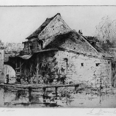 Auguste Brouet - Eau-forte - Old Mill in Moret